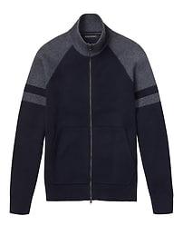 Full-Zip Block Stripe Sweater Jacket with COOLMAX® Technology
