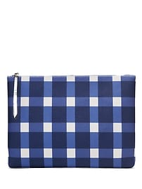 Gingham Large Zip Pouch