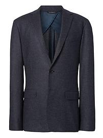 Veste de complet en mélange de laine et coton italien nervuré à fines rayures, coupe étroite