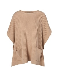 LIFE IN MOTION Machine-Washable Cashmere Blend Tie-Side Poncho