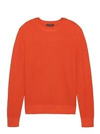 T-shirt ras du cou en mélange de tricot gaufré et de coton SUPIMAMD