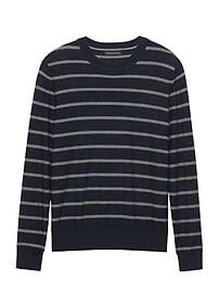 Pima Cotton Cashmere Stripe Crew