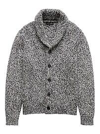 Marled Cotton Shawl-Collar Cardigan