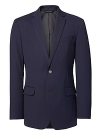 Standard Navy Pinstripe Wool Suit Jacket