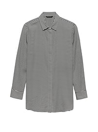 LIFE IN MOTION Parker Tunic-Fit Stripe Washable Stretch Silk Shirt