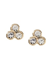 Triple Stone Stud Earring