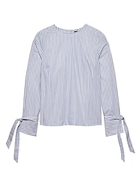 Stripe Poplin Vented Tie-Cuff Top