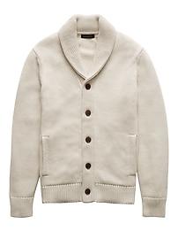 SUPIMA® Cotton Shawl-Collar Cardigan