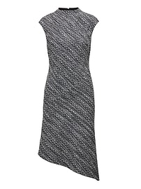 Tweed Mock-Neck Sheath Dress