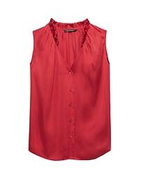Sleeveless Ruffle-Neck Shirt