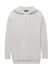 LIFE IN MOTION Machine-Washable Cashmere Blend Round Popover Hoodie