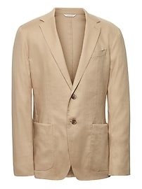 Heritage Slim Khaki Linen Suit Jacket