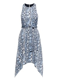 Snake-Print Racerneck Fit-and-Flare Dress