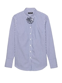 Riley-Fit Stripe Shirt with Removeable Flower