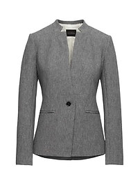 Long and Lean-Fit Inverted Collar Bi-Stretch Blazer