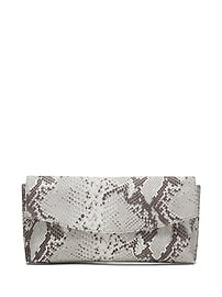 Snake-Effect Italian Leather Small Foldover Clutch
