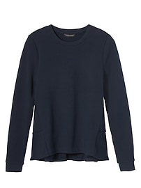 French Terry Ruffle-Back Couture Sweatshirt