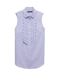 Riley Tailored-Fit Scallop-Front Sleeveless Shirt