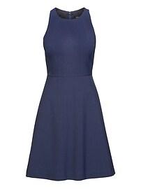 Plaid Machine Washable Italian Wool Fit-and-Flare Dress