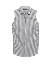 Riley Tailored-Fit Sleeveless Shirt with Pleated Trim