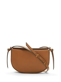 Structured Leather Half-Moon Crossbody