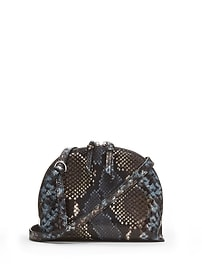 Snake-Effect Italian Leather Dome Crossbody