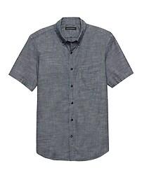 Chemise à manches courtes en cambrai, coupe Grant cintrée