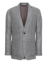 Standard Gray Plaid Linen Suit Jacket