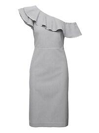 Seersucker One-Shoulder Dress