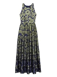 Floral Contrast Stitch Maxi Dress