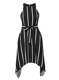 Stripe Tie-Waist Fit-and-Flare