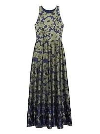 Floral Contrast Stitch Maxi Dress