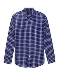 Chemise en lin à damiers, coupe Camden standard