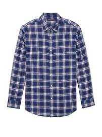 Chemise en lin à carreaux, coupe Camden standard
