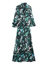 Botanical Print Flutter-Sleeve Maxi Shirtdress