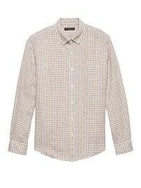 Chemise en lin à guingan, coupe Camden standard