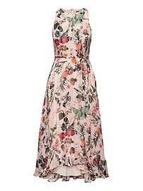 Botanical Print Fit-and-Flare Maxi Dress