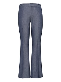 Chambray Twill Crop Flare Pant
