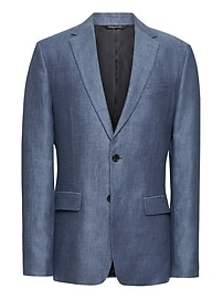 Slim Blue Linen Suit Jacket
