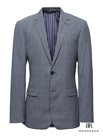 Monogram Slim Plaid Italian Wool Suit Jacket