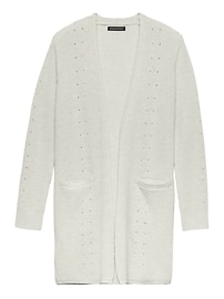 Feather Touch Ribbed Long Cardigan