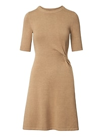 Knotted Fit-and-Flare Sweater Dress