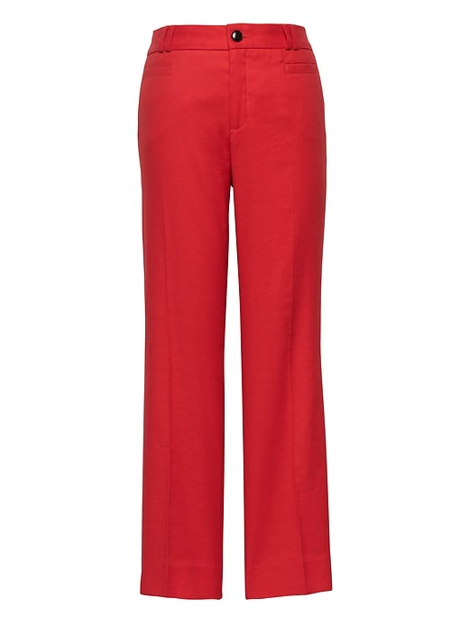 Petite Logan Trouser Fit Cropped Stretch Linen Cotton Pant by Banana Repbulic