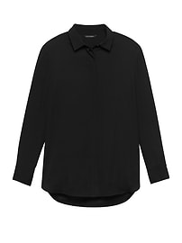 LIFE IN MOTION Parker Tunic-Fit Washable Stretch Silk Shirt