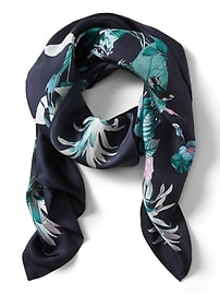 Tropical Print Large Square Silk Scarf