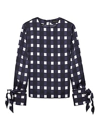 Gingham Vented Tie-Cuff Top