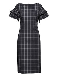 Machine-Washable Windowpane Tiered Sleeve Dress