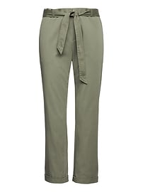 Avery Straight-Fit Sateen Pant with Tie Waist