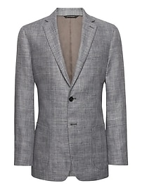 Slim Gray Plaid Linen Suit Jacket