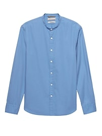 Heritage Grant Slim-Fit Cotton-Stretch Banded-Collar Shirt